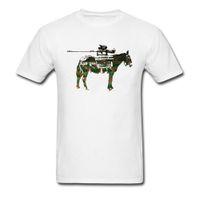 burro dos desenhos animados venda por atacado-Slim Fit Branco T-shirt Bad Ass Tanques Funky Tees Camisa Dos Desenhos Animados Tops Militar Impressão Do Cavalo Para O Homem