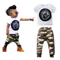 Wholesale Bebe T Shirts - 2Pcs Newborn Baby Boy Clothing Set Short Sleeve T-Shirt + Long Pants Cotton Sport Clothing Suit Infant Bebe Printed Clothes