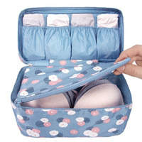 lingerie travel bags оптовых-Fashion Waterproof Flower Portable Travel Bra Underwear Lingerie Organizer Bag Cosmetic Makeup Toiletry WStorage Case