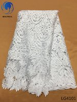 nigerian spitze weiss weiß großhandel-weiße Schnur Spitze Stoff Mode-Design nigerianischen Guipure-Spitze Stoff für Hochzeit afrikanische wasserlösliche Spitze LG41