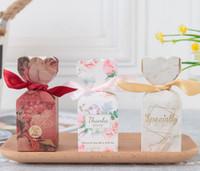 ingrosso regali romantici della caramella-Contenitore di regalo di caramella Contenitore di regalo di cerimonia nuziale romantico Favori dolci di lusso eleganti Scatola di caramelle di carta di nozze