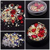 schönheit liefert nägel großhandel-12 Farben Multi-size 3D Nail art Dekorationen Nagel Makeup Kristall Glänzende Nagel-kunst Liefert Maniküre Frau Schönheit Werkzeug