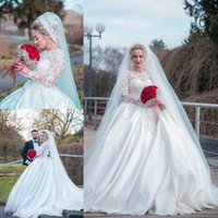 Wholesale plus size ball gowns wedding dresses for sale - Arabic Dubai Style Ball Gown Wedding Dresses Sheer Long Sleeves Appliques Court Train Bridal Gowns Plus Size