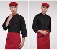 avental geral venda por atacado-Avental da camisa do cozinheiro chefe dos homens Avental uniforme geral da roupa do hotel bolso trespassado à moda