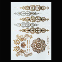 Wholesale tatoo flashes for sale - Group buy 120 Styles Flash Metallic Waterproof Temporary Tattoos Tattoo Supplies Gold Silver Tatoo Women Henna Flower Temporary Tattoo Stick Paster