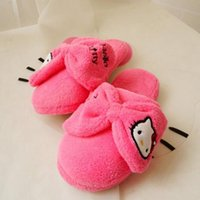 Wholesale Boys Home Slippers - Winter Soft Sole Shoes Novelty Cat Cartoon Plush Warm Home Slippers for Girls Boys, Pink, Hot Pink Thermal Indoor Slippers