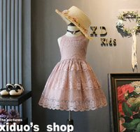 Wholesale Summer Cotton Lace Dresses Gauze - Summer girls lace princess dress 2018 new children lace gauze embroidered sleeveless dress boutique kids lace party dress Y0220