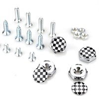 Wholesale chrome license - F1 Flag Check License Plate Screws Thread License Plate Bolt Frame Bolts Universal Screws Chrome Car Styling