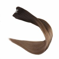 Wholesale Ash Blonde Hair Extensions - Balayage Human Hair Weft Ombre Color #2 Darkest Brown Fading To #6 And #18 Ash Blonde 100g Remy Hair Bundle Extension