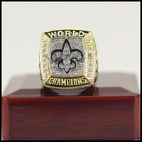 Wholesale fan boxes - The Newest 2009 New Orleans Saint s Championship Ring With Wooden Box Fan Gift wholesale Drop Shipping ALL SIZES AVAILABLE