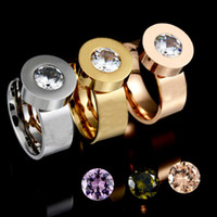 Wholesale Color Fade Ring - Factory direct four-color zircon replaceable stainless steel ring vacuum gold plating does not fade titanium steel ring female