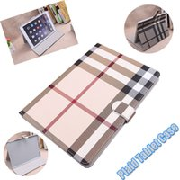 Wholesale For Apple iPad Air case Lattice Cover With Card Slots Business Plaid Stand Flip PU Leather Protective Skin Case Tablet Accessory