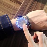 akıllı dokunmatik ledli saat toptan satış-Moda Erkek 2019 Akıllı Saatler Dokunmatik Ekran LED Ekran Adam Erkek PU Deri Kayış Paslanmaz Çelik Geri Saatı Yaratıcı Rahat Saat
