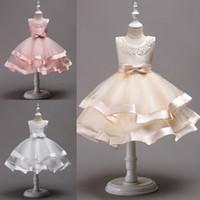 güzel kıyafetler elbiseler toptan satış-Güzel Diz Boyu Boncuklu Katmanlı Çiçek Kız Elbise Tül Yay Ile Yay Çocuk İlkbahar Cemaat Elbiseler Pageant elbise MC1490