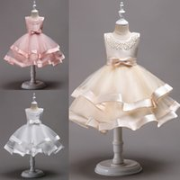 Wholesale First Knot - Lovely Knee Length Beaded Tiered Flower Girl Dresses 2018 Tulle Kids Pageant Dresses With Bow Knot First Communion Dresses MC1490