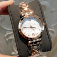 Wholesale dress shell pink - Relojes De Marca Mujer Fashion Samll Women Watch With Shell dial Pink color Stainless Steel Luxury Lady Wristwatch Rose gold Dress Watch