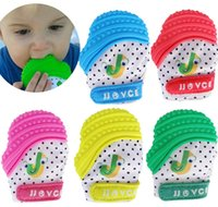 Wholesale funny baby sounds - Silicone Baby teethes Gloves Newborn Teething Toys Teethers Nursing Chewable Mittens Funny Sounding Molar Rod High Quality 18tr Z