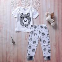 Wholesale Good Kids Clothing - Animals Baby Boy Outfits Clothes Kids Clothing Bear Tops+Long Pants 2PCS Set Cute Boutique Goods Black White Cotton Kid Boys set 0-3T