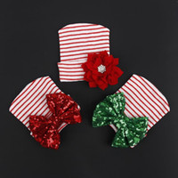 Wholesale red white crochet hat for sale - Group buy New fashion baby baby hat red and white striped bow sequins flowers warm children s knitted headgear