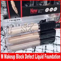 Wholesale block defect resale online - M Face Makeup Block Defect Liquid Foundation Light Feather Waterproof Moisturizing Concealer colors