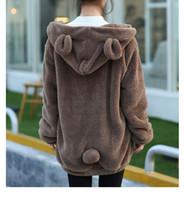 ayı kulakları hoodies toptan satış-Sıcak Satış Kadınlar Hoodies Fermuar Kız Kış Gevşek Kabarık Ayı Kulak Hoodie Kapşonlu Ceket Sıcak Kabanlar Coat sevimli kazak