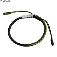marineblaue silberne armbänder großhandel-2018 Armee Grün-Silber-Navy Blue tibetische handgefertigte Seil Armband Kostenloser Versand