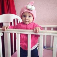 kız başlıklar fotoğrafları toptan satış-Bebek Şapka Kız Çocuk Örgü Şapka Karikatür Büyük Gözler Kafatası Hip Hop için Sevimli Şapka Bebek Fotoğraf Dikmeler C152 Caps