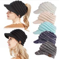 Wholesale wholesale fashion army hats for sale - Fancy Designer Women Knitted CC Hats Slouchy Cable Hair Bonnets Brimmed Rib Beanies Ladies Crochet Beret Winter Head Warmer Sport Snow Cap