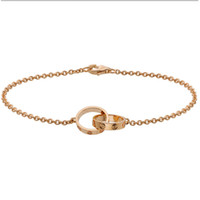 Wholesale collections link - Love Collection 18K Rose Gold Double Ring Love Bracelet B6027000