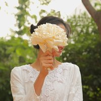 rosa elfenbein hochzeit blumensträuße großhandel-Weiß Elfenbein Rosa Rote Rose Brautjungfer Hochzeit Schaum Blumen Rose Brautstrauß Ribbon Gefälschte Hochzeit Bouquet CPA1589
