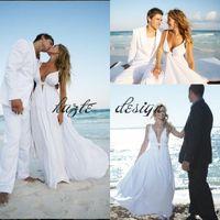 Wholesale Sexy Cut Out Skirts - Cheap 2018 Chiffon Beach Wedding Dresses Spaghetti Straps Cut Out Plunging V Neck Summer Destination Wedding Dress Flowy Bridal Dresses