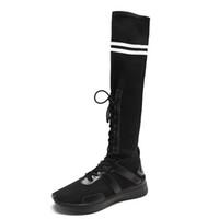 uyluklar zayıflama çorapları toptan satış-2018 Yeni Kış Ince Ayakkabı Kadın Seksi Diz Üzerinde Yüksek Çizmeler Kadın Streç kadın Dantel Up Uyluk Yüksek Çizmeler Çorap