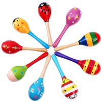 Wholesale new wooden toys online - Baby Wooden Toy Rattle Baby cute Rattle toys Orff musical instruments Educational Toys OTH875