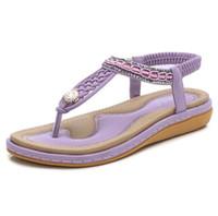 tacones flor grande al por mayor-Nueva y cómoda sandalias planas para mujer Zapatos de verano de gran tamaño Mujer Bohemia Flores Rhinestone Beach Ladies Shoes