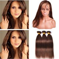 cyssic k toptan satış-Orta Kahverengi Virgin Saç Örgü 360 Frontal Düz # 4 ile Çikolata Kahverengi İnsan Saç Demetleri ile 360 Tam Dantel Kapatma 22.5x4x2