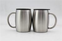 ingrosso tumblers del tè-Bicchieri da birra da 14 once in acciaio inox con coperchio 14OZ Bicchiere da caffè con coperchio a doppia parete, isolato con manico