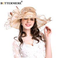 229d779c596 BUTTERMERE Women Sun Hat Big Flower Beige Ladies Hats Wedding Elegant Lady  Wide Brim Female Sun Caps Summer 2018. 35% Off