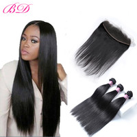 Wholesale full human hair sales online - Hot Sale Malaysian Indian Brazilian Peruvian Silky Human Hair Weave Dyeable Full Cuticle Bundles With Free Part Top Lace Frontal