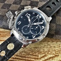 Wholesale hand battery - New U-51 Chimera Steel Case Black Dial White Mark Hands Miyota Quartz Chronograph Mens Watch Stopwatch Black Brown Leather Watches UB61a1