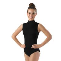 lila goldschleier großhandel-Ensnovo Frauen Tanz Kostüme Dancewear Gymnastik Trikots für Mädchen Lycra Nylon Gesicht Body für Frauen Schwarz Ärmellose Anzüge