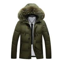 longo, pato, baixo, paletó, macho venda por atacado-2019 jaqueta de inverno masculino casaco quente Duck Down Zipper jaqueta de esqui Outwear Médio Longo Parka Com Pele capuz de espessura Jackets 4 cores
