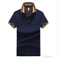 asiatische tops großhandel-Mens Luxury Brand Designer Shirts Sommer Lässige Kurzarm Trun Unten Kragen Tops Männliche T-shirts Asiatische Größe