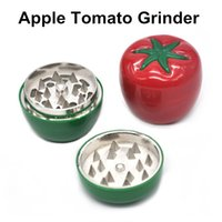 Wholesale metal prices zinc - New Arrival Apple Tomato Shape Metal Zinc Alloy Herb Grinder 53mm Lovely Spice Tobacco Grinders 2 Colors Factory Price