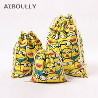 Wholesale minion bags - Cartoon Minions Candy Drawstring Canvas Storage Bag for Baby Shower Wedding Birthday Party Christmas Santa Claus Gift bags