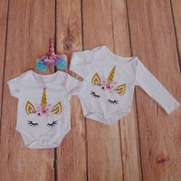 Wholesale girls christmas ideas - Lash Unicorn Romper For Baby Boys and Girls Glitter Feather Unicorn Face Onesie for Newborn Baby Gift Idea Unicornio Baby Clothes 0-24M