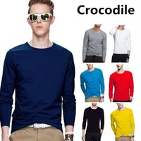 Wholesale Men S Mandarin Collar Shirt - High Quality Spring Autumn New 100% Cotton T Shirt Men Crocodile Embroidery Solid Color Tshirt Mandarin Collar Long Sleeve Top Tees S-5XL
