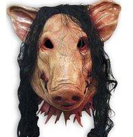 hacer traje de cerdo al por mayor-Espeluznante Cosplay Cabeza de cerdo Máscara Sombrero de Halloween Disfraz Teatro Prop para el partido Maquillaje Decorar las máscaras de cerdo Látex