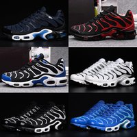 Wholesale purple lace material - 2018 Air TN Men High Quality Running Shoes Tns Nanotechnology KPU Material Classical Durable Mens White Silver Sports Sneakers Size 40-46