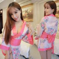 ingrosso costumi da kimono pigiami di lingerie-Hot Sexy Kimono Femminile Sexy Tentazione Donne Vestito Pigiama Lingerie Morbida Intimo Erotico Indumenti Da Notte Costume Cosplay Sexy WomenY1883005