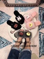 Wholesale animal shoes for children resale online - winter home slippers Parent child shoes cartoon animation fur shoes for girls indoor casual flats bedroom